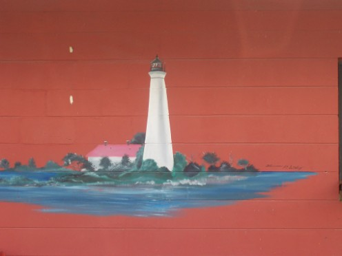 Picture on side of building of our Lighthouse